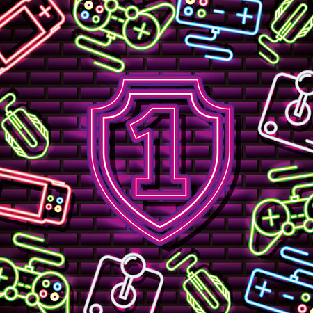 video game number one controls neon background vector illustration