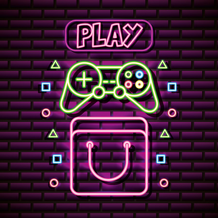 control video game play symbols neon background vector illustration Ilustração