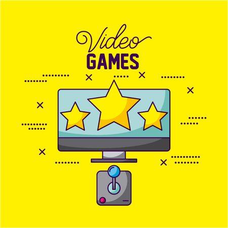 video game computer screen stars command control vector illustration