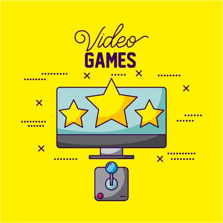 video game computer screen stars command control vector illustration