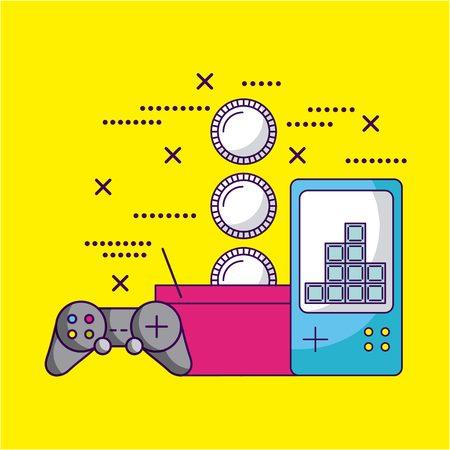 video game basket coins tetris control vector illustration Illustration