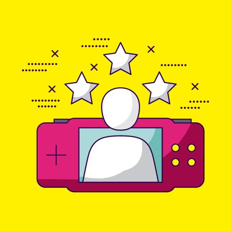 video game person stars psp vector illustration