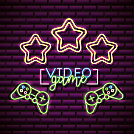 video game neon stars controls vector illustration