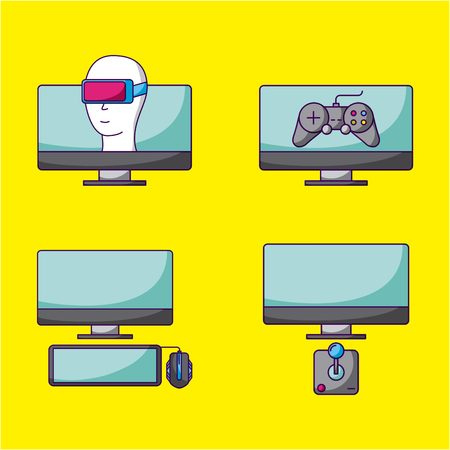 video game technology virtual reality control vector illustration