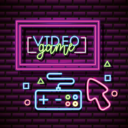 video game computer play control online vector illustration