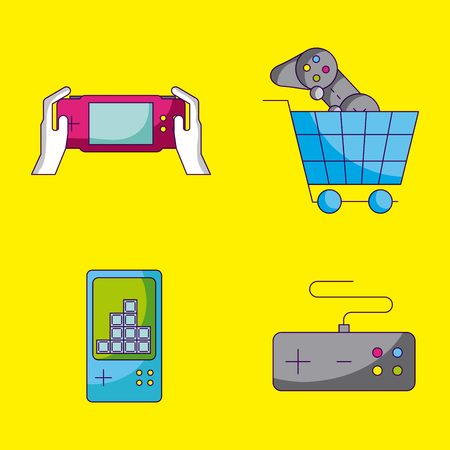 video game shopping cart controls vector illustration Illustration