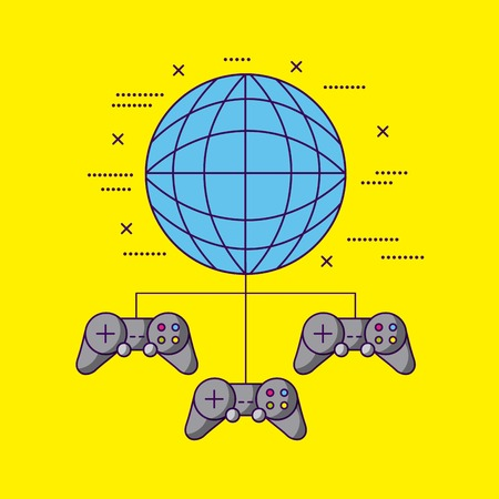 world connection controls video games vector illustration