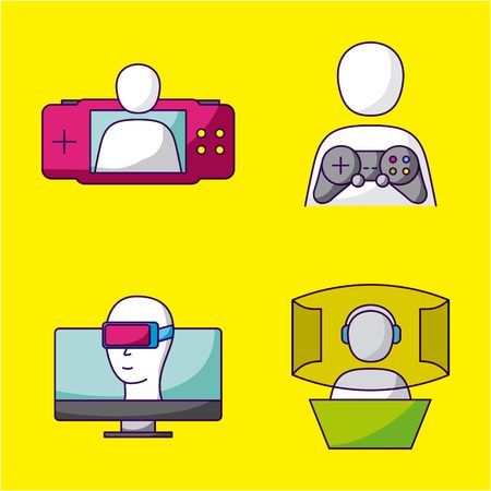 video game virtual reality controls vector illustration