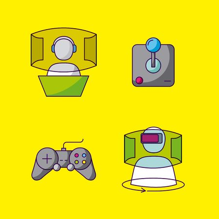 video game command control virtual reality capsule vector illustration