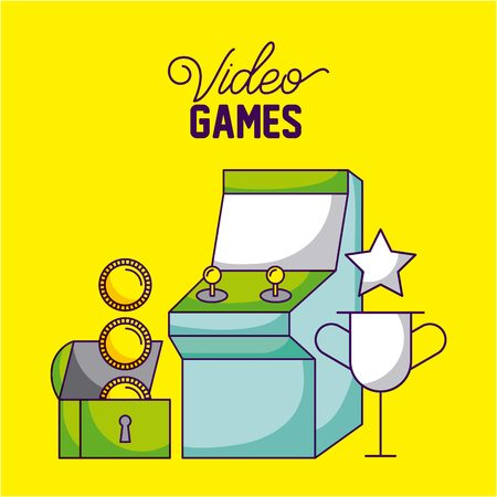 video game arcade chest coins trophy vector illustration 向量圖像