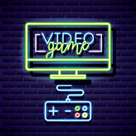 neon video game computer connection control vector illustration