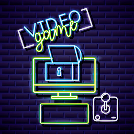 neon computer control chest video game vector illustration