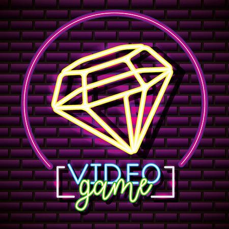 video game neon circle diamond vector illustration 일러스트