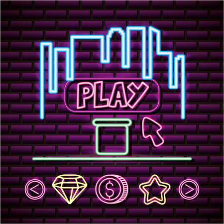 video game play selection coins stars neon vector illustration
