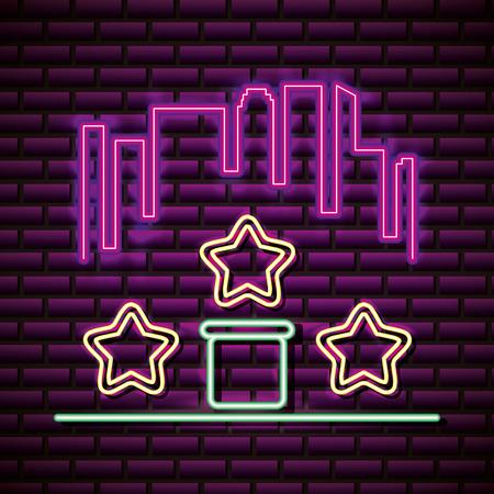 video game stars base play neon vector illustration