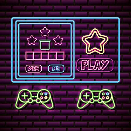 Controles de videojuegos de neón de pantalla jugar ilustración vectorial