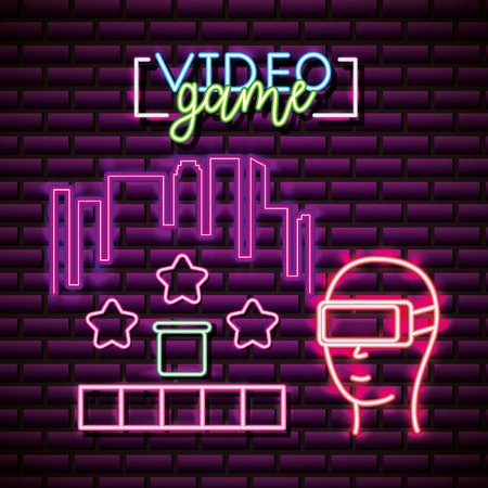 neon video game virtual reality play base stars vector illustration 向量圖像