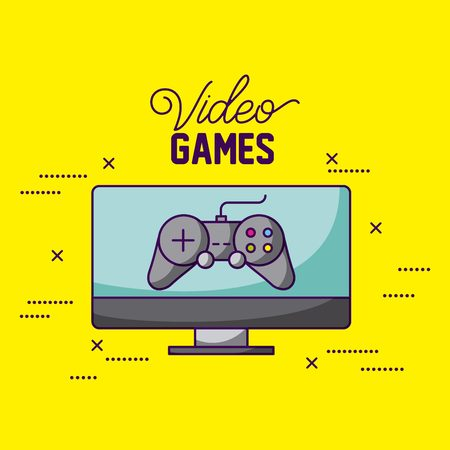 video game computer screen control vector illustration
