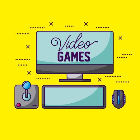 computer play command control video game vector illustration