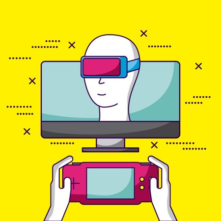 video game screen computer virtual reality vector illustration