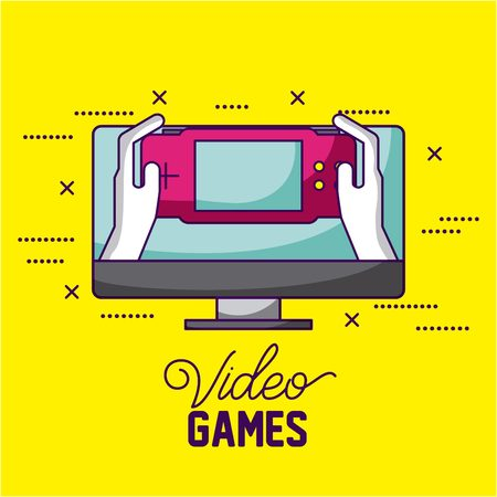 video game screen person playing vector illustration