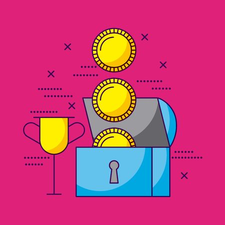 video game chest coins trophy vector illustration Illustration