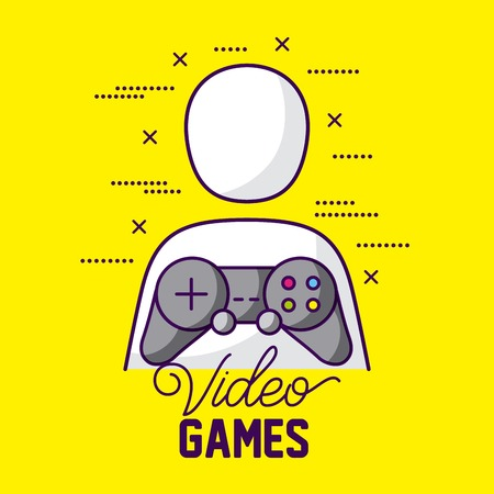 control video game person symbols vector illustration