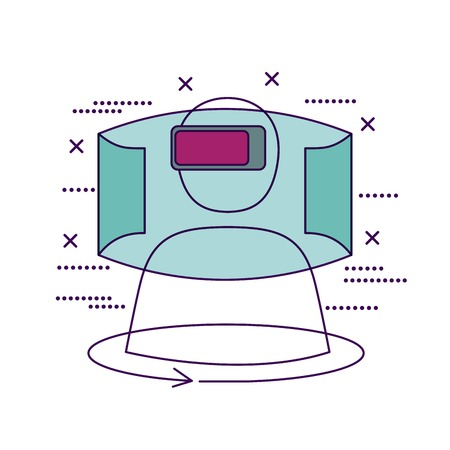 video game virtual reality capsule vector illustration