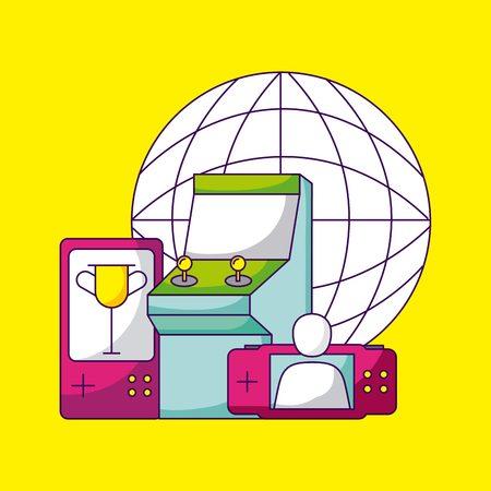 video game world trophy arcade vector illustration Illustration