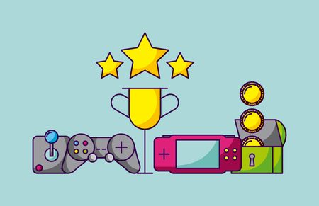 video game trophy stars controls chest coins vector illustration Illustration
