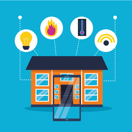 smart home mobile house connected vector illustration Ilustracja