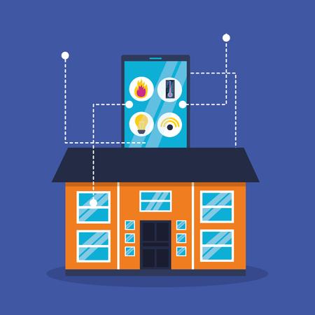 smart home smartphone application remote vector illustration Illustration