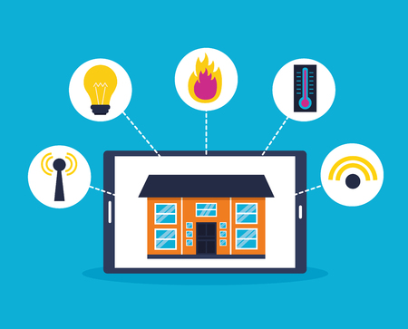 smart home mobile system technology connection vector illustration