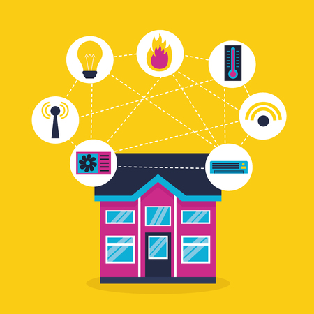 smart home system technology connection vector illustration Ilustrace