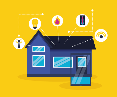 smart home smartphone monitoring innovation vector illustration