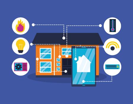 smart home smartphone digital tech vector illustration