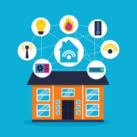 smart home smartphone application remote vector illustration 向量圖像