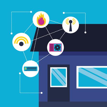 smart home smartphone monitoring control app vector illustration