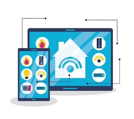 smart home system technology connection vector illustration Иллюстрация