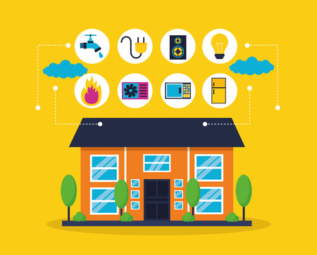 smart home house technology automation vector illustration