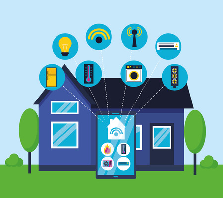 smart home mobile house connected vector illustration Stock Illustratie