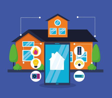 smart home digital technology system vector illustration Vettoriali