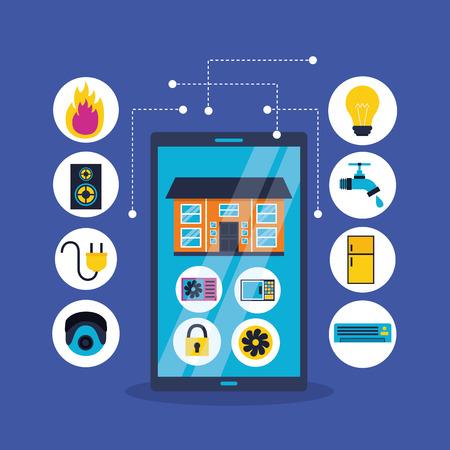 cellphone control remote smart home vector illustration