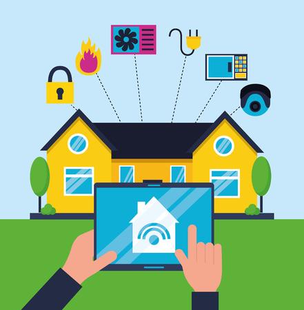 mains avec illustration vectorielle de contrôleur mobile maison intelligente