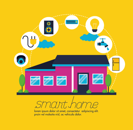 smart home digital control functions vector illustration Imagens - 126819848