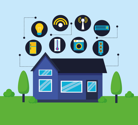 smart home digital control functions vector illustration