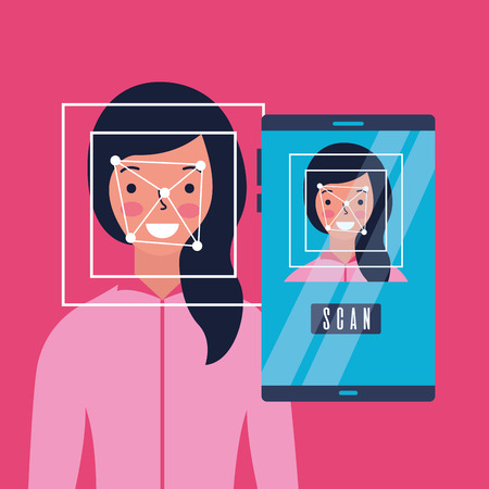 woman face scan process gadget vector illustration
