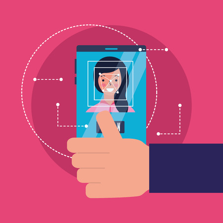 hand with mobile woman face scanning vector illustration