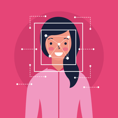 woman face scan process biometric vector illustration Illustration