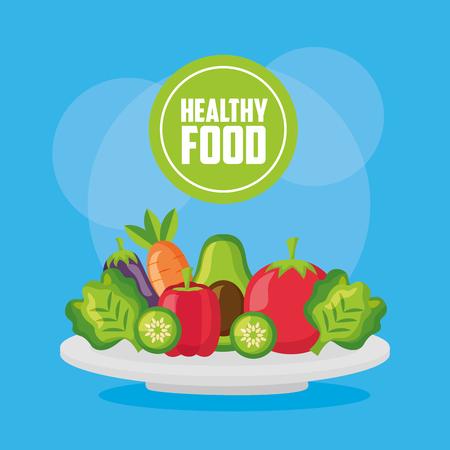 vegetables fresh healthy food on dish vector illustration Standard-Bild - 126819881